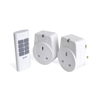 RapidResponse 2x 1Kw Remote Controlled Sockets - White