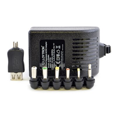 1500mA Regulated AC/DC Multi-Voltage Adaptor with USB