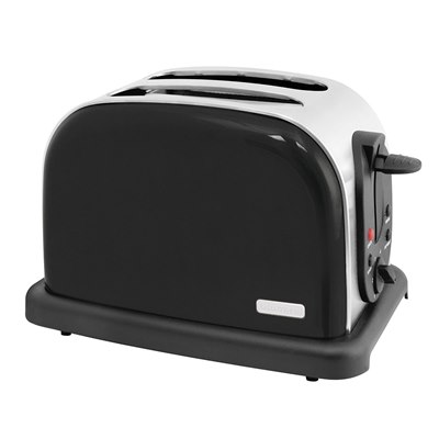 2 Slice 1000w Wide Slot Toaster with Bagel - Black Steel