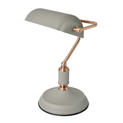 35w 'Emperor' Bankers Lamp - Sand Grey / Copper