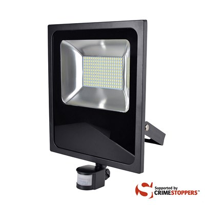 RapidResponse 100w Slimline LED Floodlight with PIR & 1m Cable