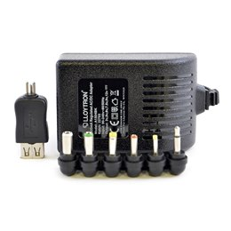 A1504BK 1500mA Regulated AC/DC Multi-Voltage Adaptor with USB