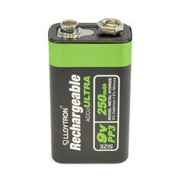 B018 1Pk NIMH AccuUltra Battery - PP3 9V 250mAh