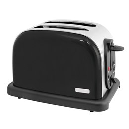E2017BK 2 Slice 1000w Wide Slot Toaster with Bagel - Black Steel