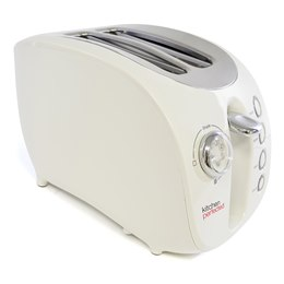 E2018WI KitchenPerfected 2 Large Slice Wide Slot Toaster with Bagel - Ivory White