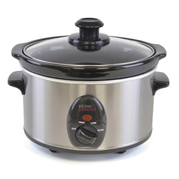E3015SS KitchenPerfected 1.5Ltr Mini Oval Slow Cooker - Brushed Steel