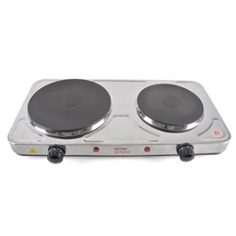 E4201BS KitchenPerfected 2500w Double Hotplate - Brushed Steel