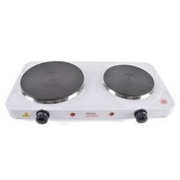 E4201WH KitchenPerfected 2500w Double Hotplate - White