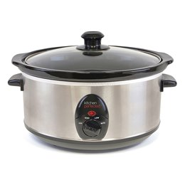 E818SS KitchenPerfected 3.5Ltr Oval Slow Cooker - Brushed Steel