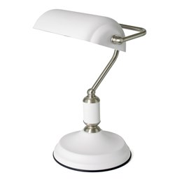 L1161WI 35w 'Emperor' Bankers Lamp - White / Inox