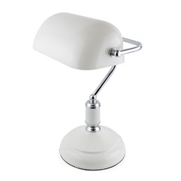L1162WH 15'' 45w 'Advocate' Bankers Lamp - White