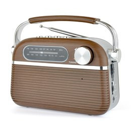 N6403WD Lloytron 'Vintage' Rechargeable Portable Bluetooth AM/FM Radio - Wood Effect