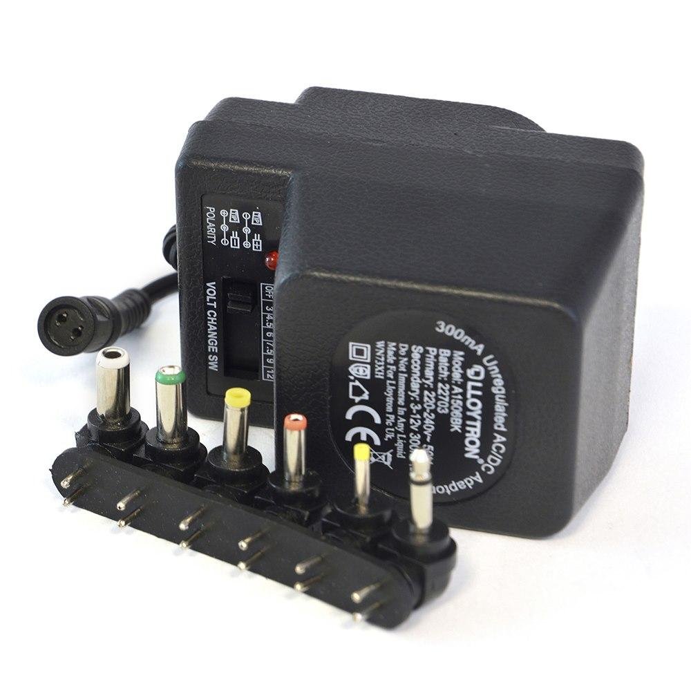 300mA Unregulated AC/DC Multi-Voltage Adaptor